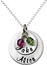 My Two Joys Personalized Sterling Silver Name Necklace. Customize with Your Choice of Characters. Matted Finish. 2 Swarovski Birthstones. Includes Sterling Silver Chain. Gifts for Her, Mother, Wife