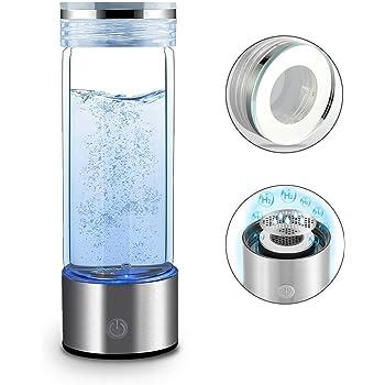 水素水生成器- RESH -ポータブル水素リッチウォーターボトル400ml 1200ppb なイオン水ジェネレーターガラスボトル アンチエイジング抗酸化水メーカー 美容 健康-ポータブルヘルシーウォーターボトル (シルバー)