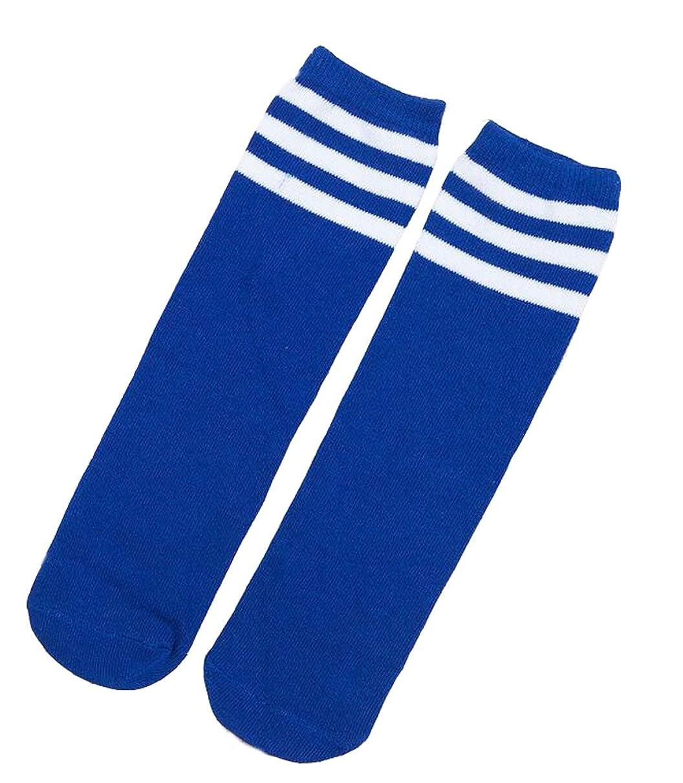 Ewandastore 1 Pair Cotton Over Knee Long Soccer Socks,Breathable Team School Socks for 4-10 Years Old Kids Girls Boys Toddlers