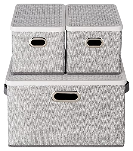 TOPP4u Caja de almacenamiento con tapa en juego de 3 unidades,  3 cajas plegables de tela con tapa de plástico estable y asa.