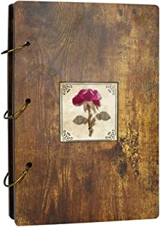 EdenseeLake Real Dried Flower Photo Album 4x6 Wooden Photo Book for Gift, Holds 300 Photos