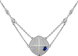 قلادة من الفضة الإسترلينية 925 للنساء من كينيفا، قلادة مع ألماس زركونيا مكعبة، طول السلسلة قابل للتعديل هدية مجوهرات للبنات