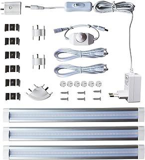 LAMPAOUS - Lámpara de armario de cocina, barra de cinta LED, luz empotrada, regulable, 4 W x 3 cm, blanco natural, 4000 K,...
