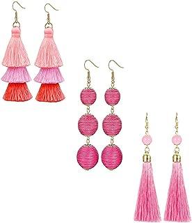 3 Pairs Long Thread Tassel Earrings for Women Girls Fashion Dangle Drop Earrings