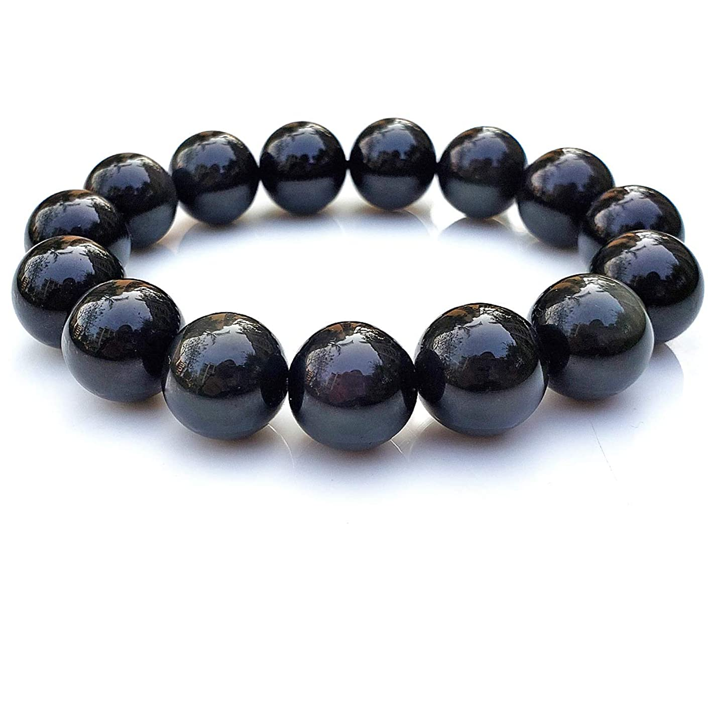 Chengmu 14mm Rainbow Eye Obsidian Stretch Bracelet for Men Natural Round Beads Semi Precious Gemstone for Crystal Elastic Beaded Bracelet 8