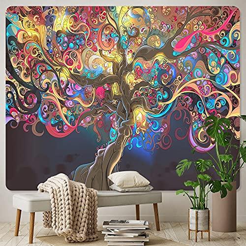 PPOU Misterioso árbol de la Vida Tapiz de Montaje en Pared Mandala Tapiz de Pared psicodélico Manta Decorativa Bohemia A2 130x150cm
