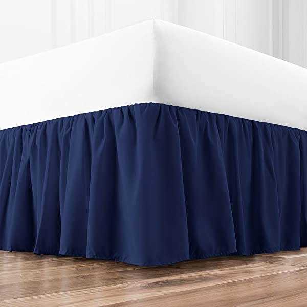 Zen Home Luxury Ruffled Bed Skirt 1500 Series Luxury Brushed Microfiber W Bamboo Blend Treatment Eco Friendly Hypoallergenic Dust Ruffle W 15 Drop Queen Navy
