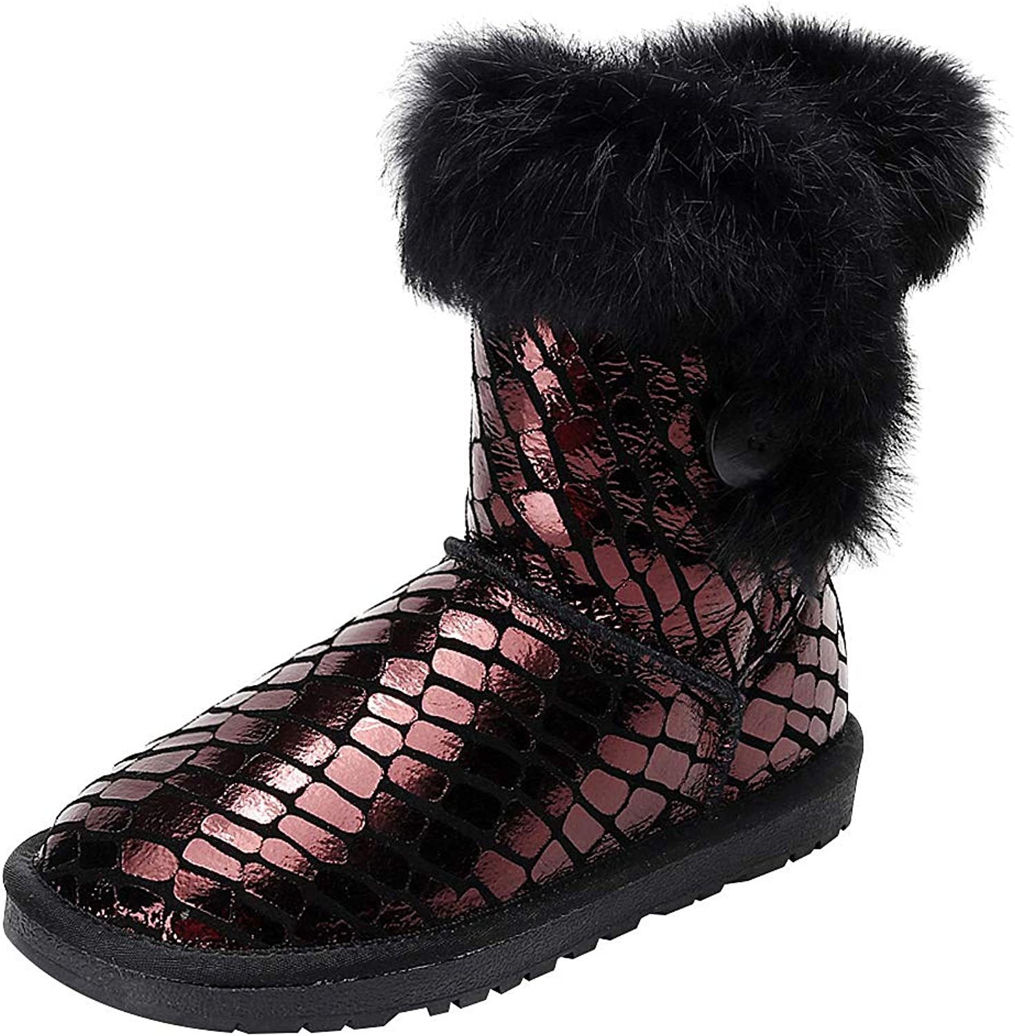 Rismart Women's Mid Calf Warmth Button Trendy Handcrafted Snow Boots