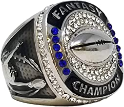 Decade Awards Silver Fantasy Football Champion Ring | Style B | Heavy FFL League Champ Ring with Stand