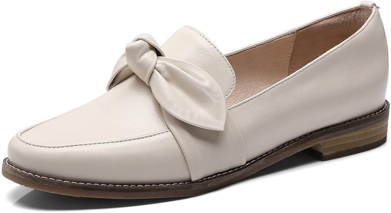 FLYSXP Women's Flat Casual shoes Retro Literary Bow Casual shoes Smart Non-Slip Casual shoes Commuter Work Professional shoes Women's shoes (color   Creamy-White, Size   37 EU)