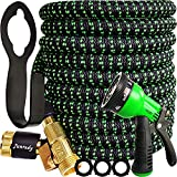 """Garden Hose 25ft Expandable Water Hose with High Pressure Hose Nozzle Sprayer, Leakproof Lightweight Flexible Hose with 3750D Fabric, 3-layers Latex, 3/4"""" Solid Fittings, Durable Yard Car Wash Hose"""