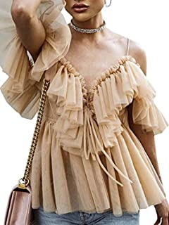 Simplee Women's Sexy Off Shoulder Deep V Neck Tops Lace Up Ruffle Blouse Shirt
