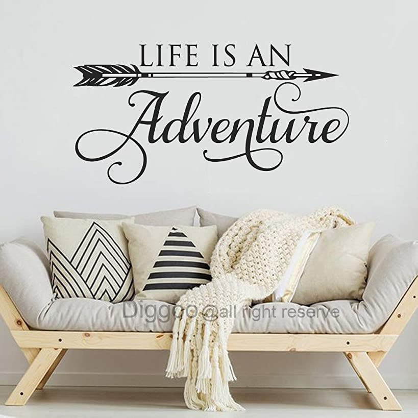Diggoo Life is an Adventure Wall Decal Quote Arrow Vinyl Decal Adventure Quote Inspirational Wall Words Travel Theme Vinyl Sticker (Black,25.5