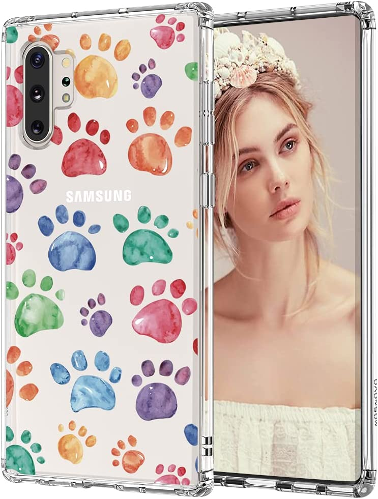 MOSNOVO Cute Paw Pattern Clear Design Transparent Plastic Hard Back Case with TPU Bumper Protective Case Cover for Samsung Galaxy Note 10 Plus
