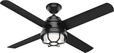 Hunter 55086 Searow Indoor Outdoor Ceiling Fan With Led Light And Wall Control 54 Matte Black Amazon Com