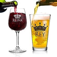 Juego de Regalo de 2 Copas para Cerveza y Vino, Rey y Reina | Regalo de Copas para Él y Ella, Esposo y Esposa | Pareja, Recién Casados, Regalo de Aniversario | Regalo de Bodas o Regalo para Parejas
