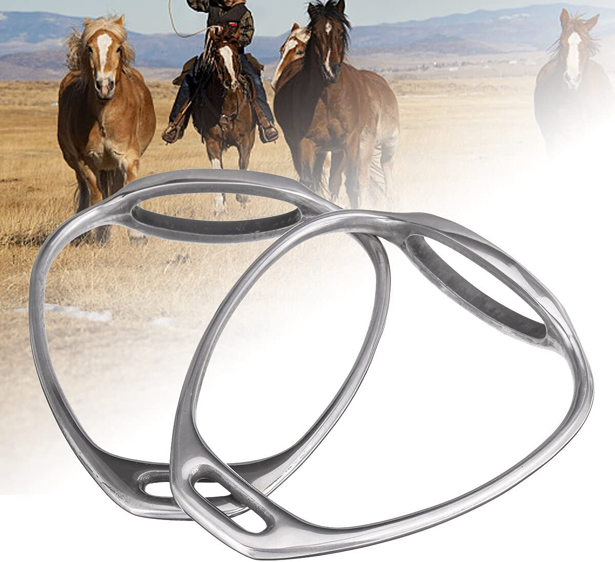 1 Pair Max 43% OFF Stainless Steel Double Bent Stirrups Leg Safety Sad Ranking TOP16 Horse