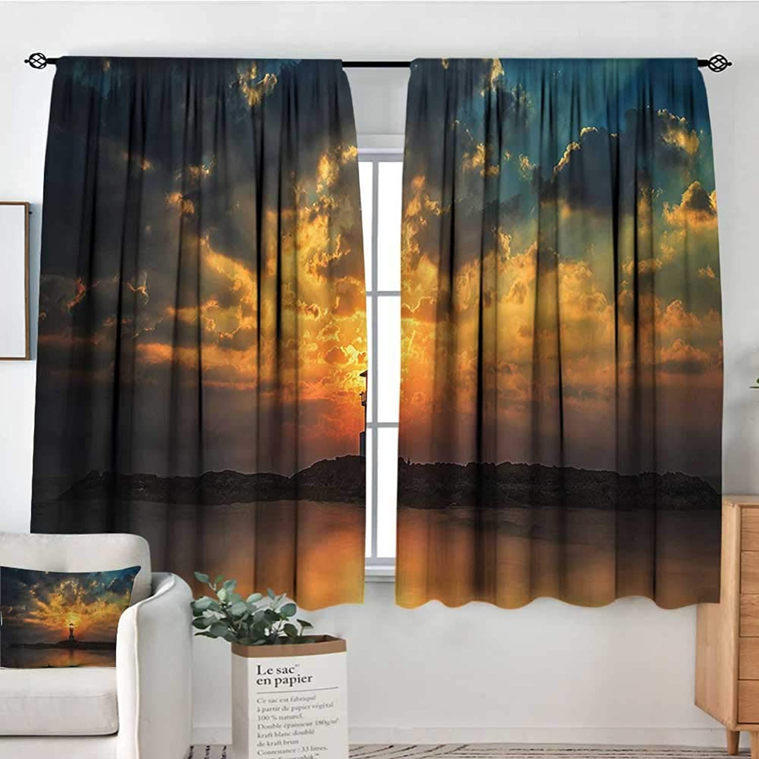 Lighthouse,Rod Curtains Khao Lak Traveling Theme 52 x63  Backout Curtains for Kids Iving Room