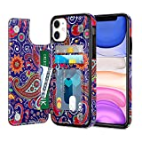 XNMOA for iPhone 11 Wallet Case with Credit Card Slot Holder, Women Girls Retro Floral PU Leather Kickstand Double Magnetic Clasp Durable Shockproof Cover for iPhone 11 6.1 Inch Flower Iris