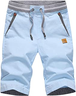 CLOUSPO Men Casual Shorts Cotton Summer Chino Shorts with Pocket Elastic Waist (XL, Light-Blue)