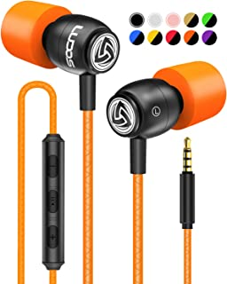 LUDOS Clamor Wired Earbuds in Ear Headphones with Microphone, Earphones with Mic and Volume Control, Memory Foam, Reinforced Cable, Bass Compatible with iPhone, Apple, iPad, Computer, Laptop, PC