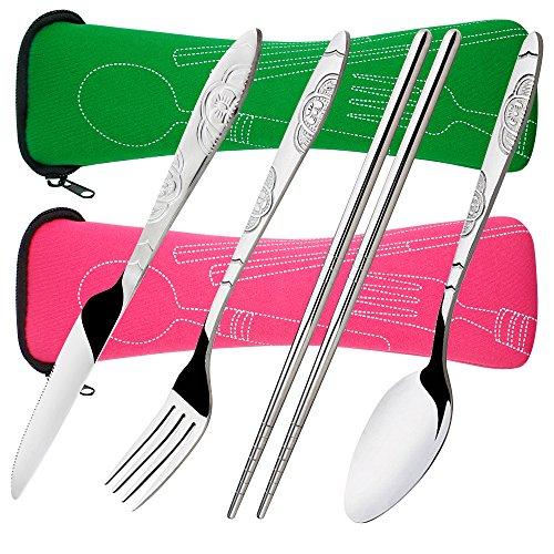 8 Pezzi Set di frutta, coltello, cucchiaio, bacchette, SENHAI 2 Pack Risto in acciaio inox da tavola Dinnerware con custodia per viaggiare Camping Picnic Working Hiking(Verde, colore rosa)