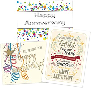 50 Employee Anniversary Cards - 3 Unique Designs - 52 White and Vanilla Envelopes - FSC Mix