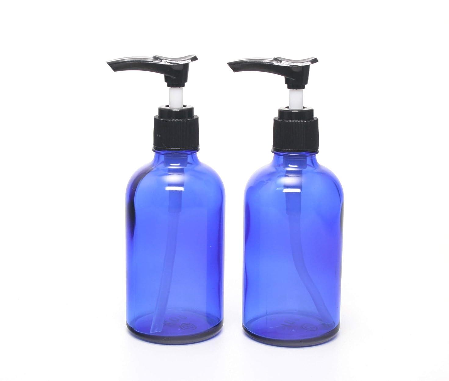 雪だるま類似性装置遮光瓶 ポンプボトル (硝子) 100ml / ブルー ? ブラックポンプヘッド (2本セット)