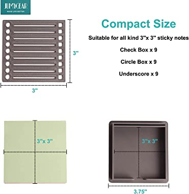 Sticky Note Holder with Stencil, Upgraded Sticky Notepad Dispenser for 3x3 Self-Sticky Note Pads, Desk Memo Pad Organizer, Th