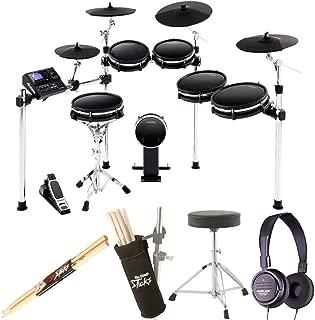 Alesis DM10 MKII Pro Kit   Ten-Piece Electronic Drum Kit with Mesh Heads + Dynamic Stereo Headphones + Drum Stick Holder + Drum Throne + Maple Wood 5B Drumsticks (1 Pair) - Top Value Bundle