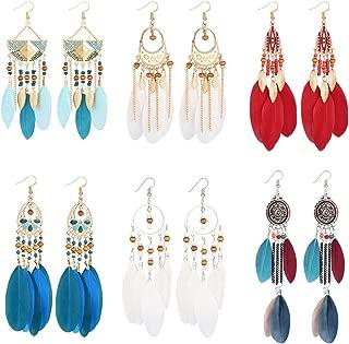 Bohémien Argent 925 Turquoise femmes Dangle Drop Ear Crochet Boho Hoop Boucles d/'oreilles cadeau