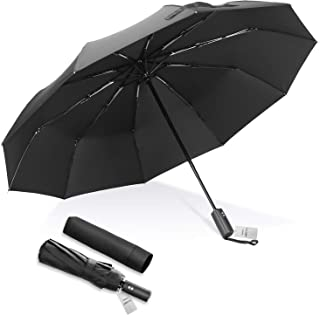 BaySedy 折りたたみ傘 ワンタッチ自動開閉 おりたたみ傘メンズ 10本骨 頑丈な 大きい 折り畳み傘 (ブラック) 210T超撥水 晴雨兼用 梅雨対策 FU232BK