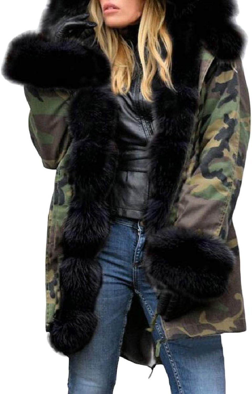 Xswsy XGCA Women Thicken Faux Fur Hooded Coat Jacket Parka Outerwear