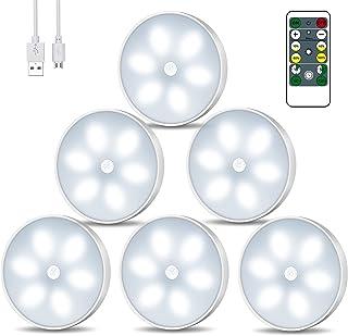 Racokky Lampe Placard Veilleuse LED, USB Rechargeable Lot de 6 Lampes de Nuit sans Fil avec Contrôle Tactile et Télécomman...