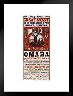 Poster Foundry Union Pacific Platte Valley Route Omaha to San Francisco Railroad Vintage Travel Matted Framed Wall Art Print 20x26 inch