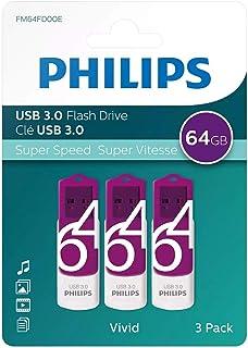 Philips Pendrive USB 3.0 64 GB - Vivid Edition (64GB Confezione 3 pezzi) pen drive chiavetta chiavina pennina ad altà velo...