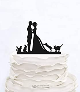 Wedding Cake Topper With Four Cats Bride And Groom Couple Silhouette Custom Cake Topper Bridal Show Topper Personalized