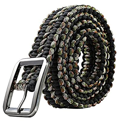 Stylrtop Tactical Waist Belt Survival Woven Belt for Camping, Hunting, Hiking, and Other Outdoor Activities(Can be Unraveled into a 28 Meters Parachute Cord,Pulling Force:550lbs (Black Camouflage)