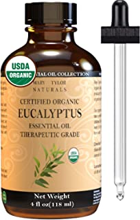Organic Eucalyptus Essential Oil (4 oz), USDA Certified by Mary Tylor Naturals 100% Pure Essential Oil, Therapeutic Grade, Perfect for Aromatherapy, Relaxation, DIY, Improved Mood