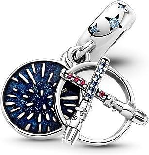 LaMenars Star Wars Lightsaber Charms per bracciali, perline multicolori in argento sterling 925, si adatta a collane con b...