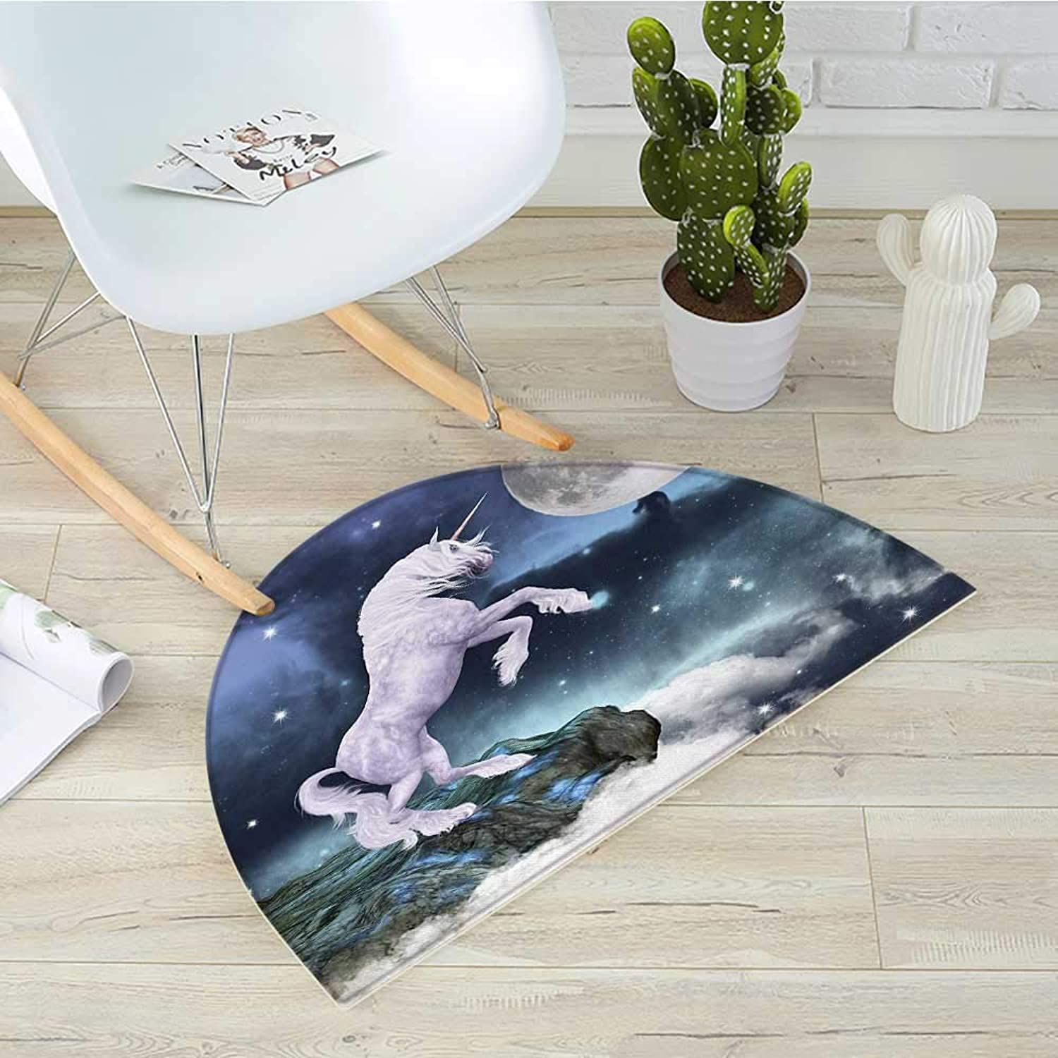 Unicorn Semicircle Doormat Legendary Creature on Up Cliffs Rocks in Full Moon Light Sky Fantasy Decor Artprint Halfmoon doormats H 39.3  xD 59  purplec bluee