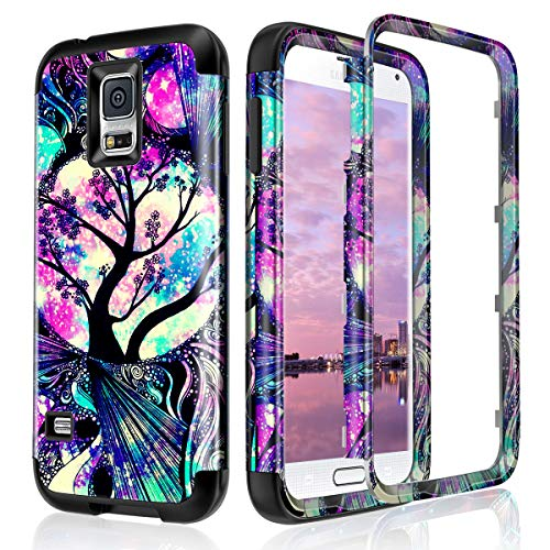 Lamcase for Galaxy S5 Case Shockproof Dual Layer Hard PC & Flexible Silicone High Impact Durable Bumper Drop Protective Case Cover for Samsung Galaxy S5 i9600, Life Tree