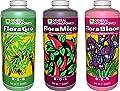 General Hydroponics Flora Grow, Bloom, Micro Combo Fertilizer set, 1 Quart (Pack of 3)