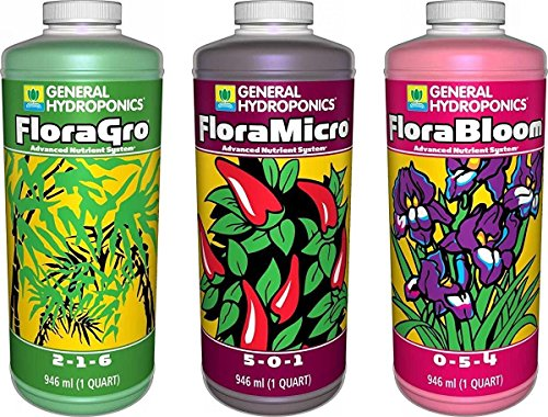 General Hydroponics Flora Grow, Bloom, Micro Combo Fertilizer set, 1 Quart...