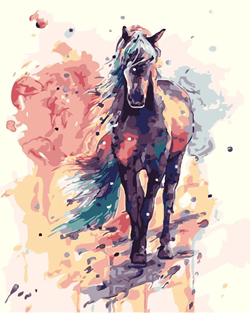 YEESAM ART New DIY Paint by Number Kits for Adults Kids Beginner - Horse Colorful Animals 16x20 inch Linen Canvas