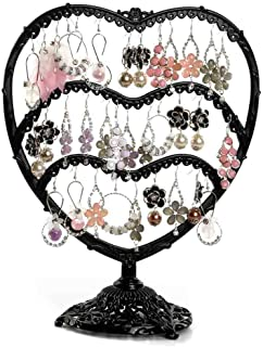 Botitu Earring Display, 11 inch Tall Jewelry Holder with 58 Hooks and 3 Tiers Earring Holder for Girls and Women Jewelry Tree, Perfect for Dresser, Nightstand and Countertop Jewelry Display (Black)