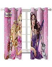 2 stuks gordijnen met thermische en phonische isolatie, ondoorzichtig, motief: Barbie prinses, ooggordijn voor kinderen, gordijnen slaapkamer 75 × 166 cm × 2 panelen
