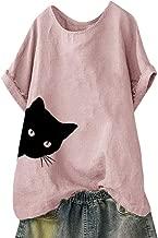 NANTE Top Casual Loose Blouse Women's Solid Cat Print Loose Short Sleeve T Shirt Tank Ladies Tops Tee Women Shirts