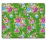 MSD-Tappetino per mouse in gomma naturale, gioco 30090511 foto ID: frammenti di materie tessili, da ricamare, multicolore, stile retrò, con decorazione floreale, utile come sfondo