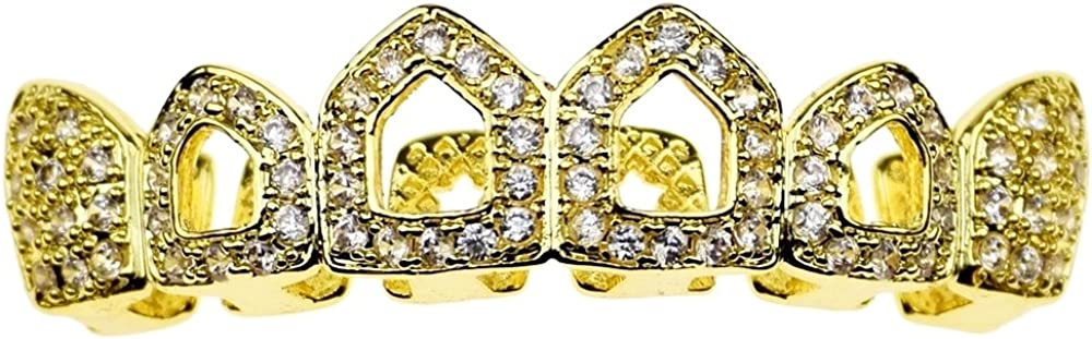14k Gold Plated Grillz CZ 4 Open Face Upper Four Cubic Zirconia Top Bling Hollow Teeth Grills